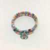 Pink lotus charm wrap bracelet