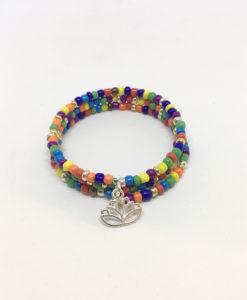 Multi lotus charm wrap bracelet