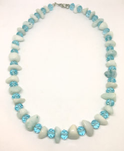 Turquoise stone and glass necklace