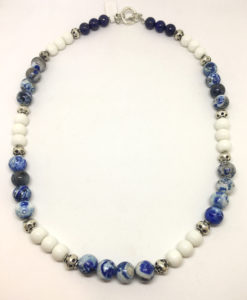 sodalite and glass necklace