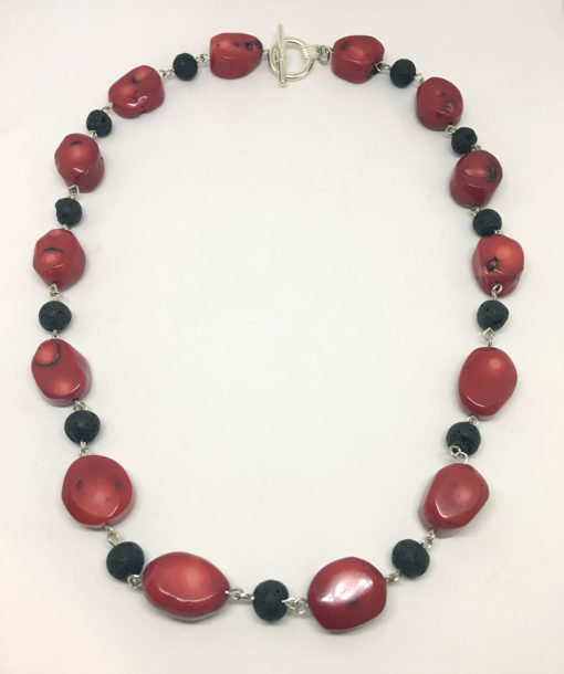 coral and lava bead necklace