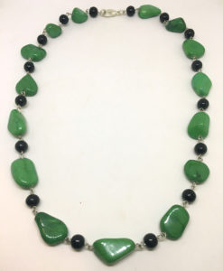 Green stone and glass necklace