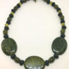Cracked agate and lava bead necklace