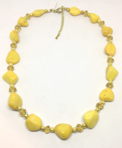 Yellow stone and gold necklace