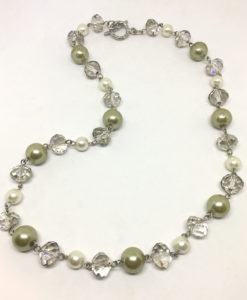 green pearl and glass necklace