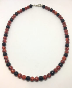 Red and black glass bead necklace