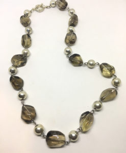 Smokey glass and silver bead necklace