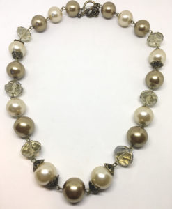 Smokey pearl and crystal necklace