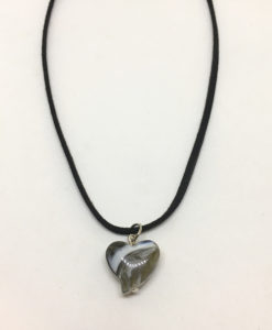 Black and white glass heart pendant necklace