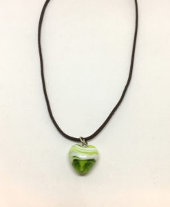 Green and white glass heart pendant necklace