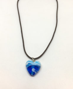 Blue and white glass heart pendant necklace