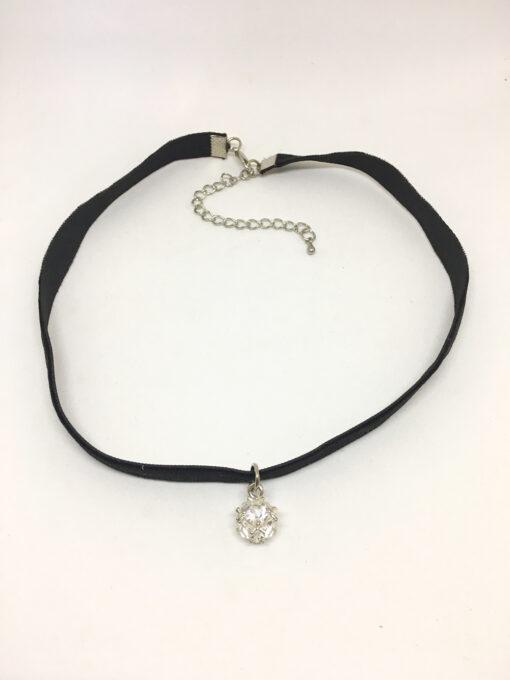 Diamanté ball pendant choker necklace
