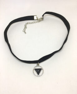 Black triangle pendant choker necklace
