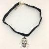 Skull and crossbones pendant choker