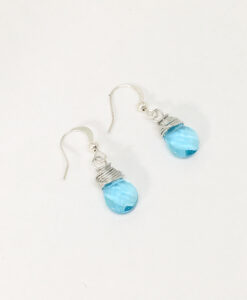 Wire wrapped turquoise drop earrings